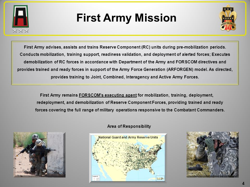 First Army 101 for Spouses We are proud of our mission