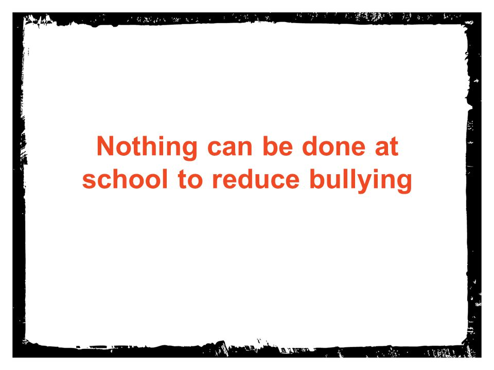 Nothing can be done at school to reduce bullying