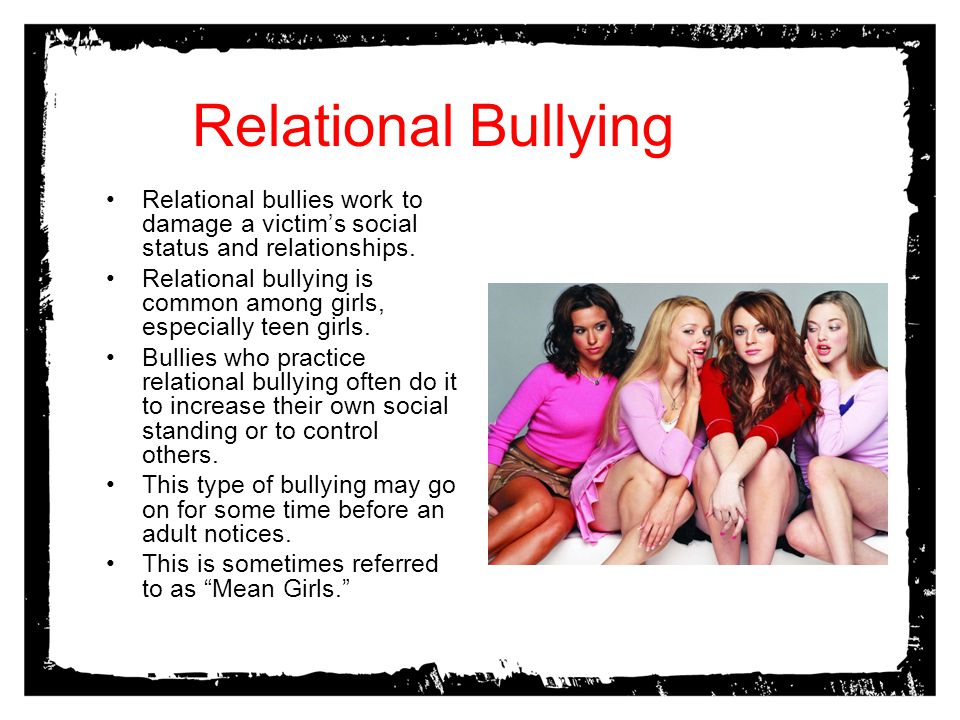 Relational Bullying Relational bullies work to damage a victim's social status and relationships.