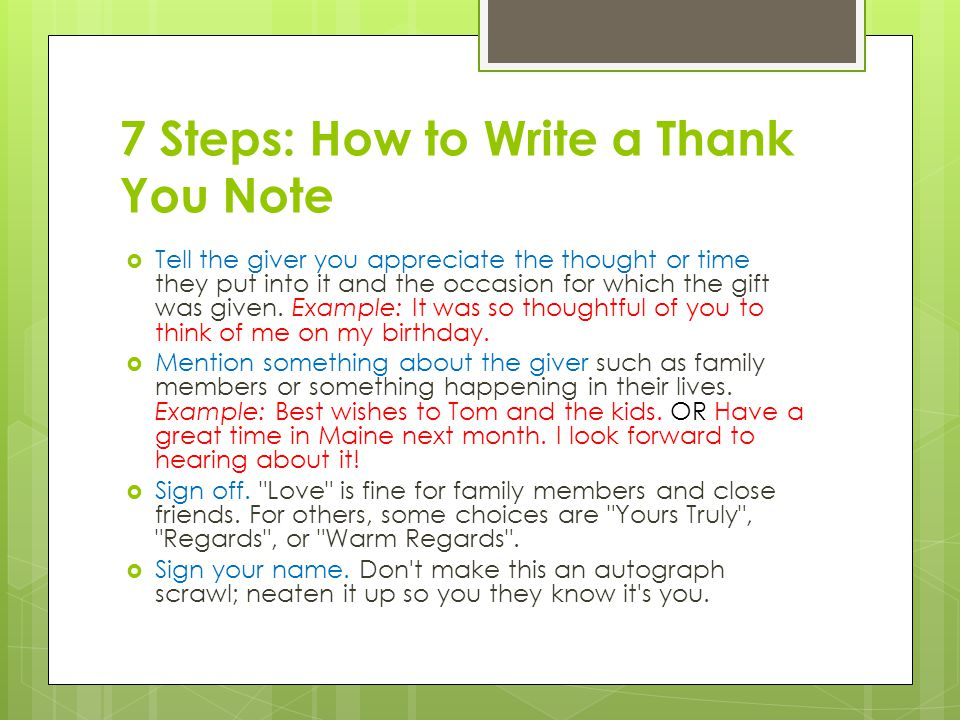 7 Steps How To Write A Thank You Note