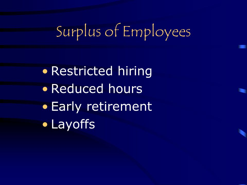 Surplus of Employees Restricted hiring Reduced hours Early retirement