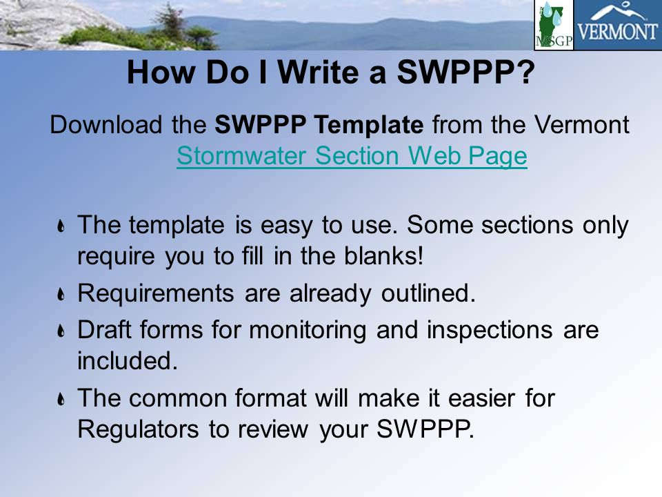 Swppp Template | Applying For The Vt Multi Sector General Permit Ppt Download