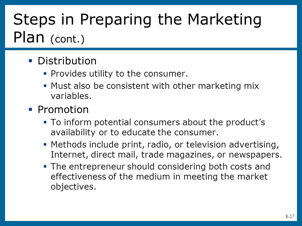 Steps in Preparing the Marketing Plan (cont.)
