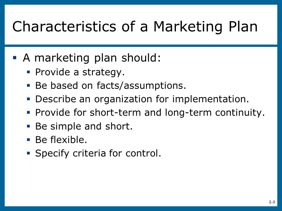 Characteristics of a Marketing Plan