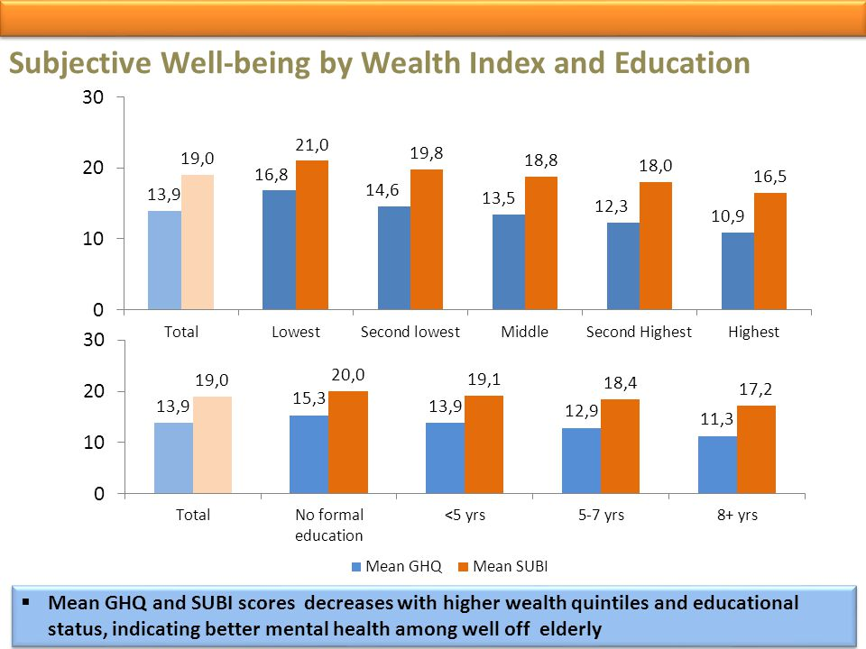 Subjective Well-being by Wealth Index and Education