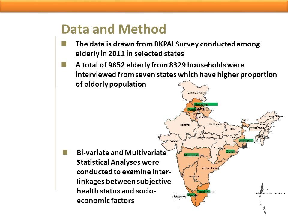Data and Method The data is drawn from BKPAI Survey conducted among elderly in 2011 in selected states.