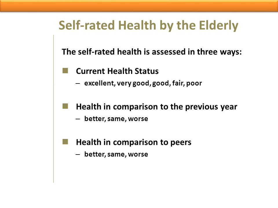 Self-rated Health by the Elderly