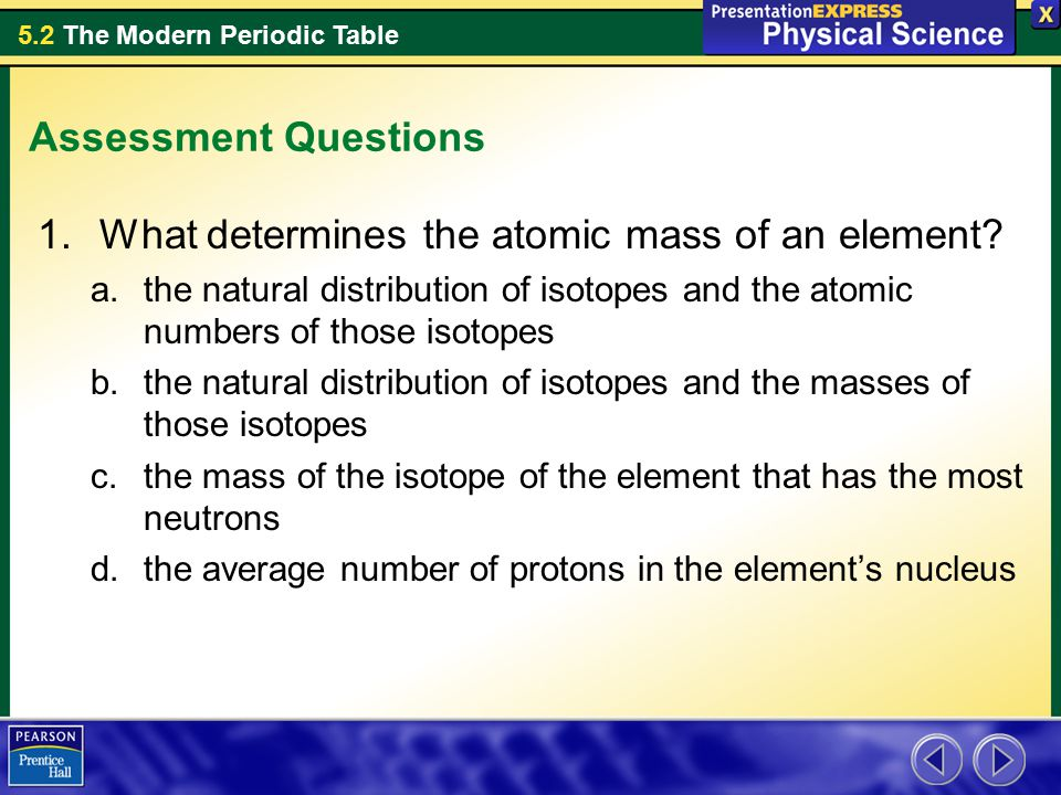What determines the atomic mass of an element