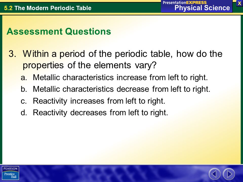 Assessment Questions Within a period of the periodic table, how do the properties of the elements vary