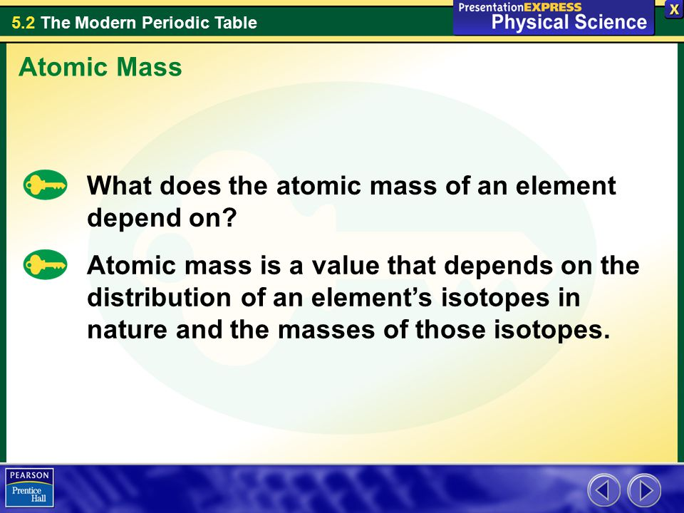 Atomic Mass What does the atomic mass of an element depend on