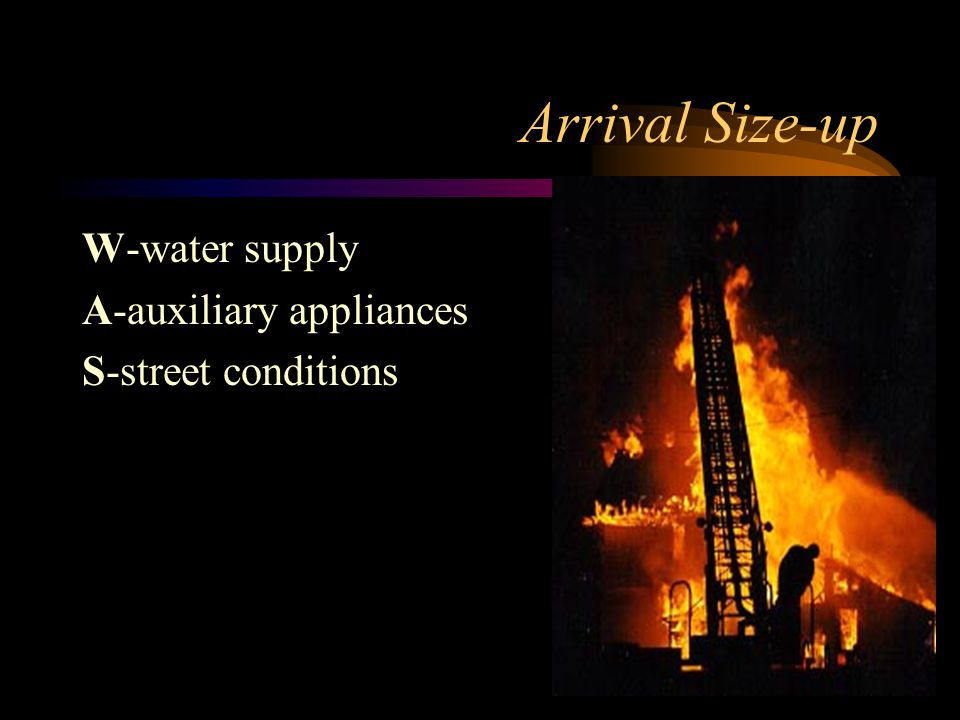 Arrival Size-up W-water supply A-auxiliary appliances