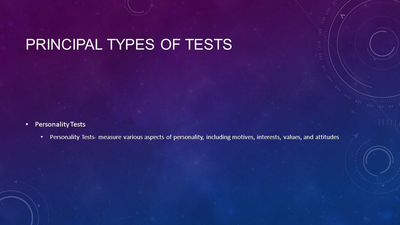 Principal Types of tests