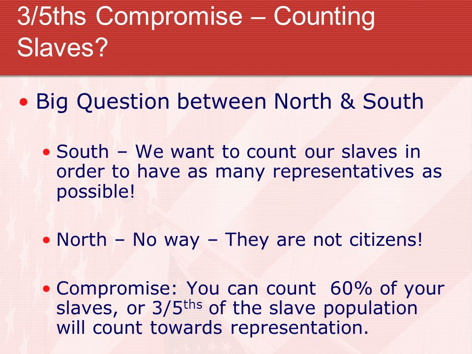 3/5ths Compromise – Counting Slaves