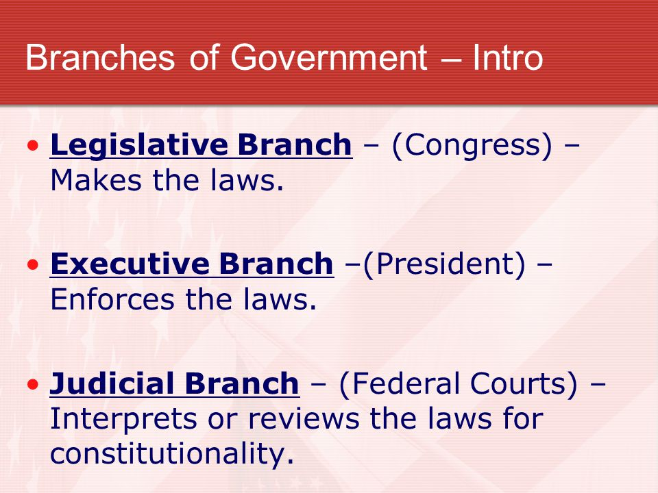 Branches of Government – Intro
