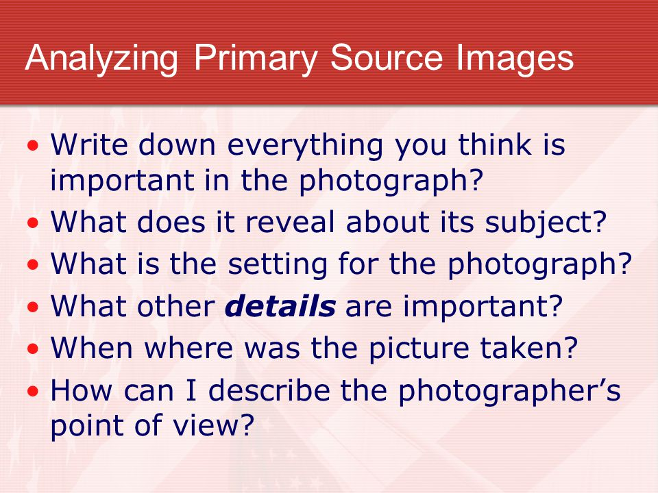 Analyzing Primary Source Images