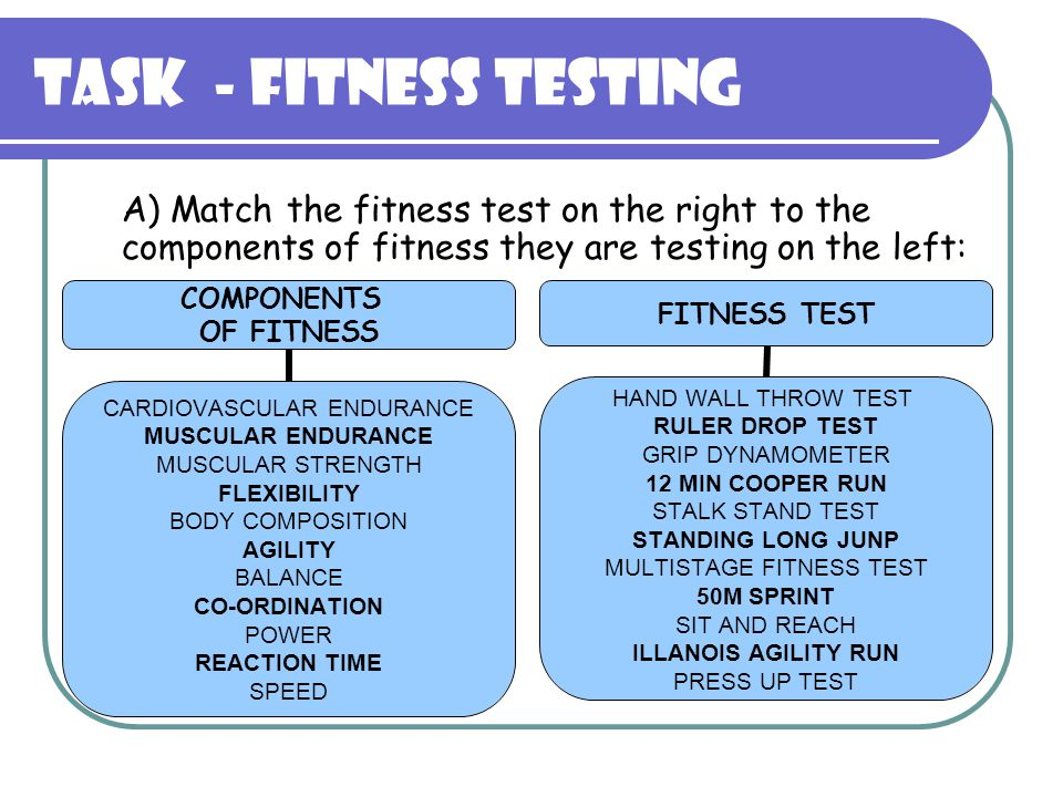 17 Task Fitness Testing A Match The Fitness Test On The Right To The Components Of Fitness They Are Testing On The Left
