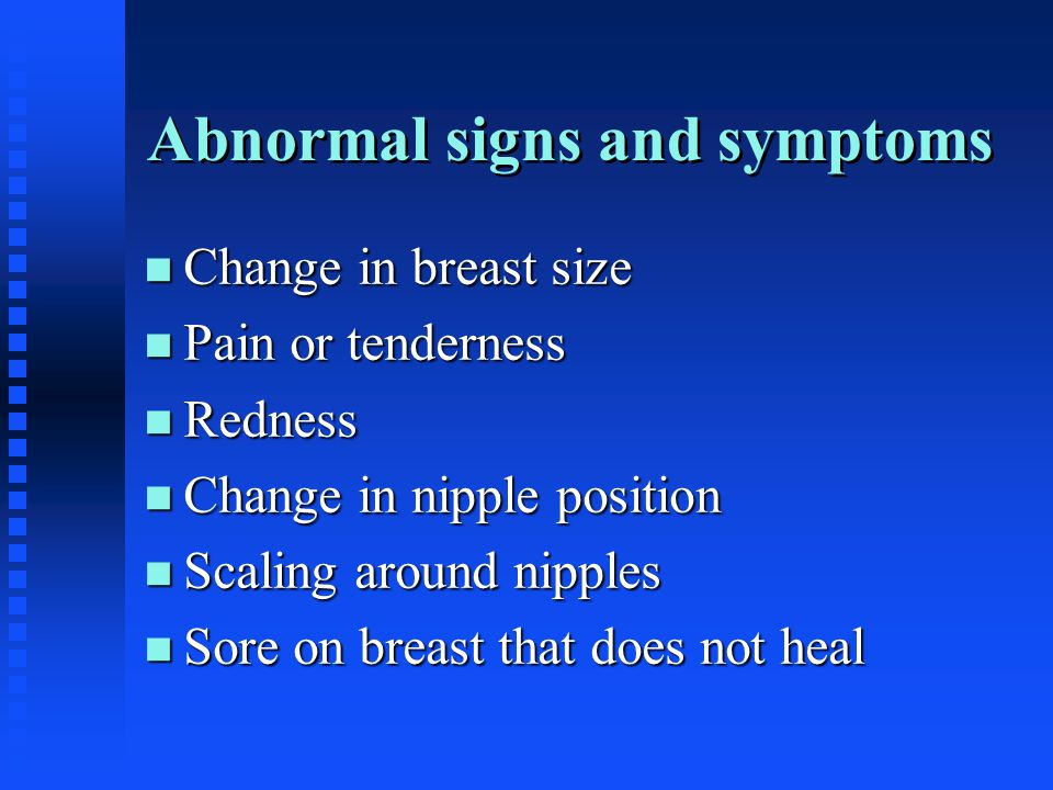 Abnormal signs and symptoms