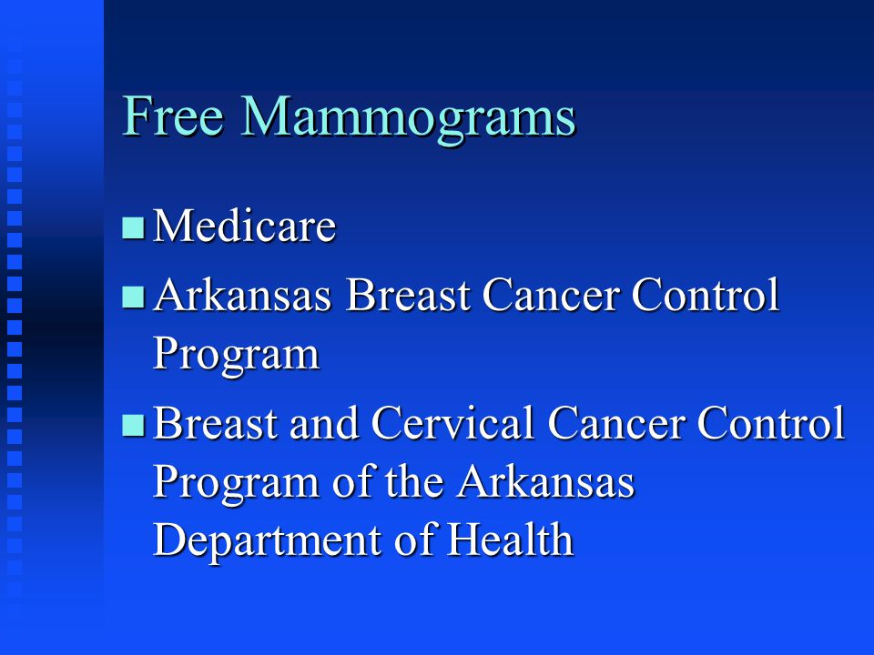 Free Mammograms Medicare Arkansas Breast Cancer Control Program