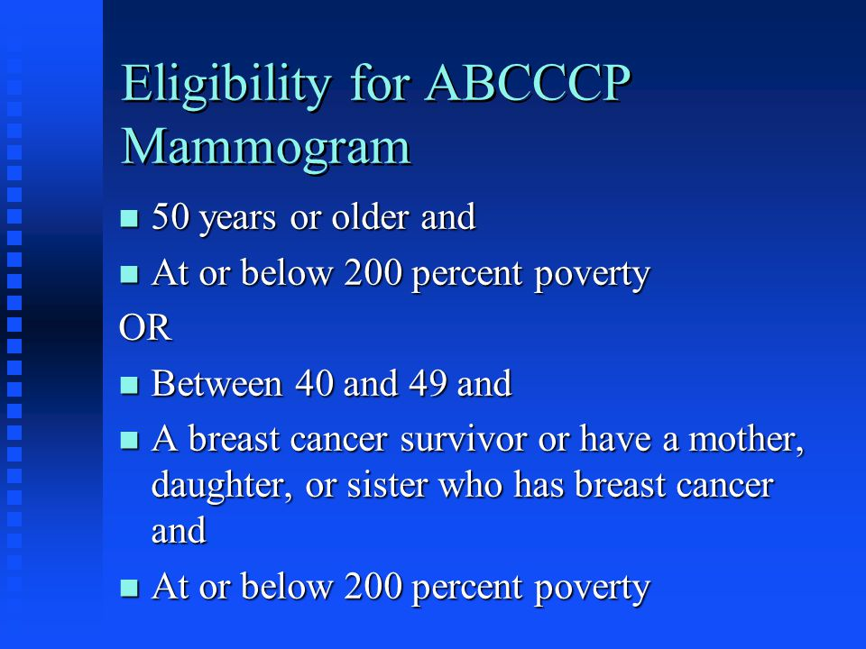 Eligibility for ABCCCP Mammogram