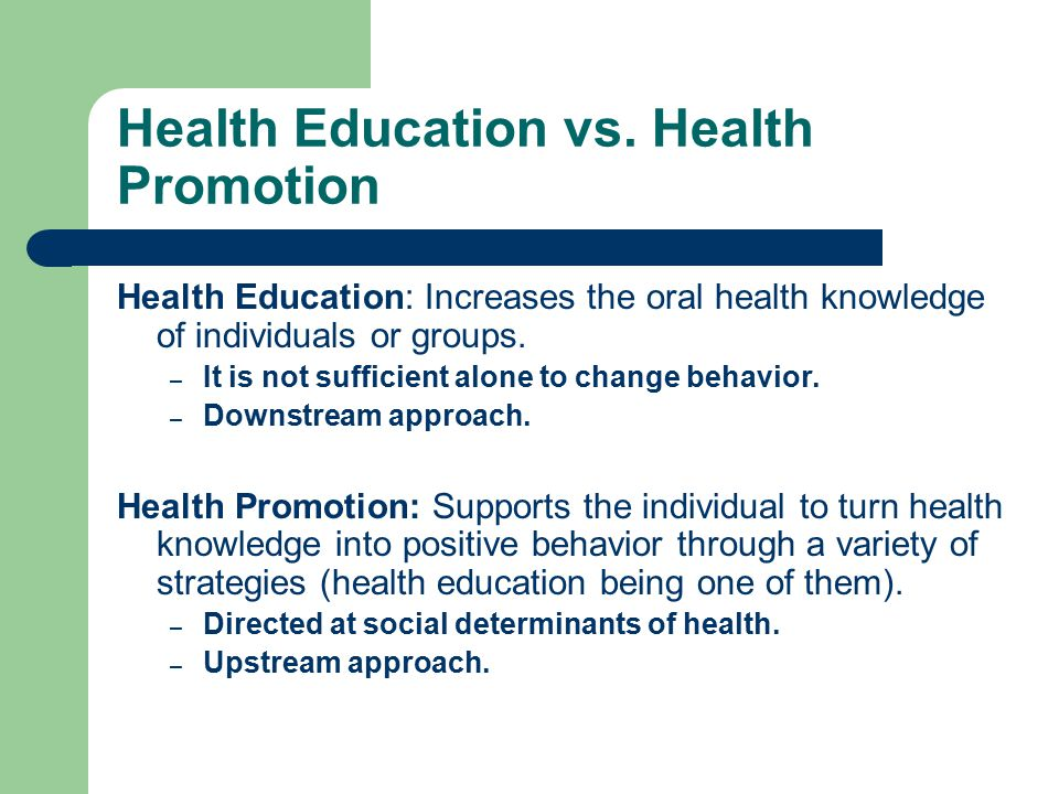 Health Education vs. Health Promotion