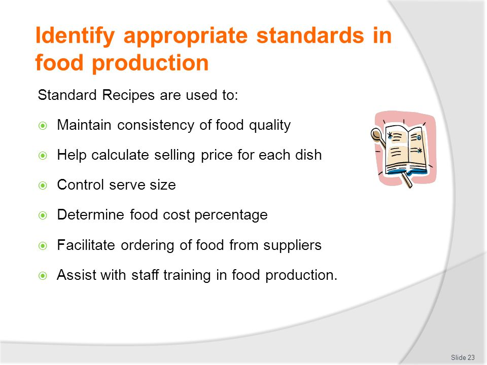 Establish and maintain quality control in food production ppt download identify appropriate standards in food production forumfinder Choice Image