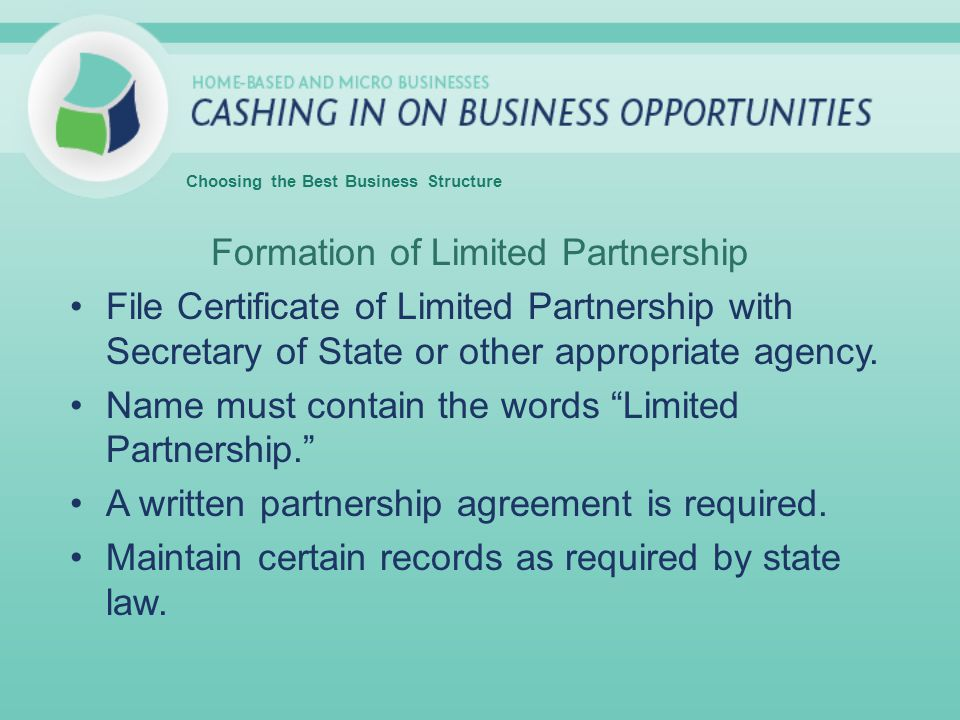 Formation of Limited Partnership