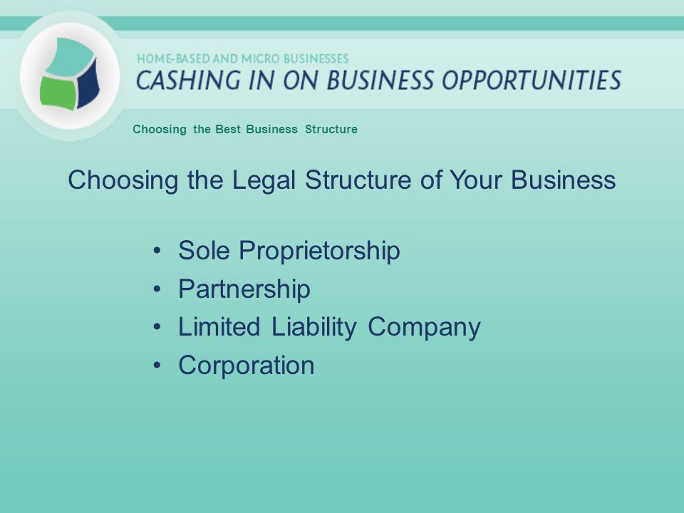 Choosing the Legal Structure of Your Business