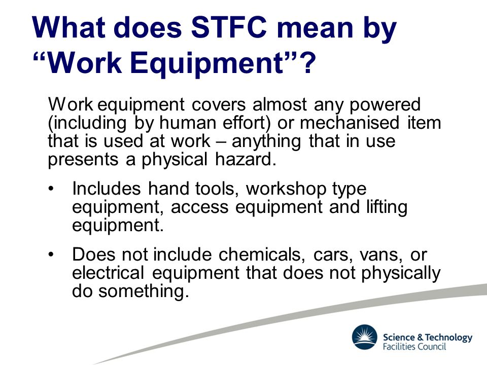What does STFC mean by Work Equipment