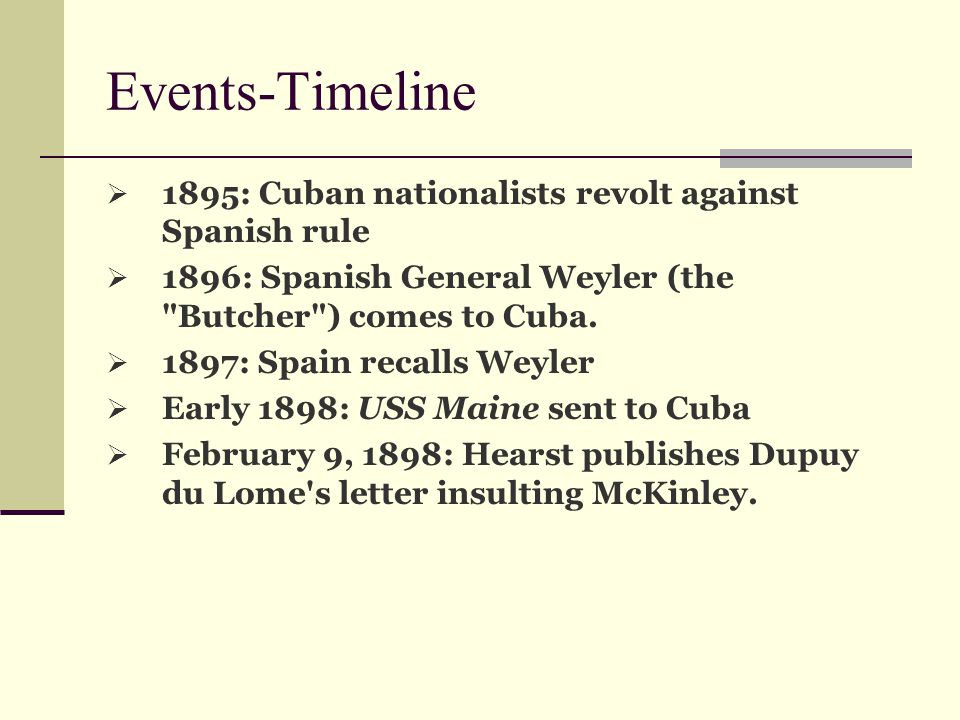 Events-Timeline 1895: Cuban nationalists revolt against Spanish rule