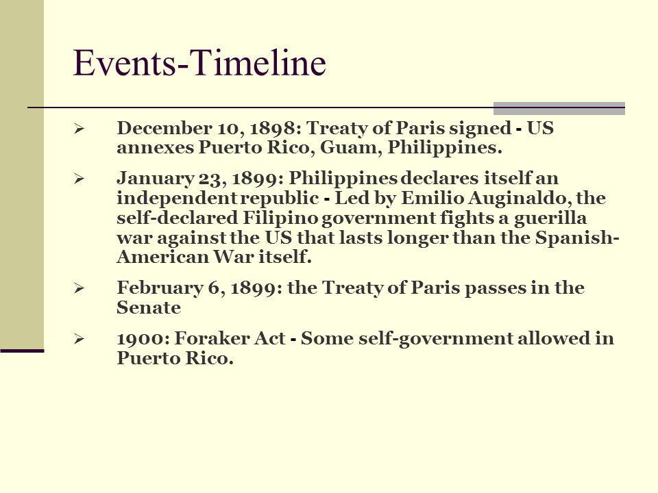 Events-Timeline December 10, 1898: Treaty of Paris signed - US annexes Puerto Rico, Guam, Philippines.
