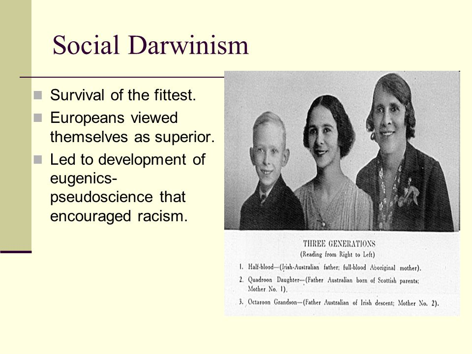 Social Darwinism Survival of the fittest.
