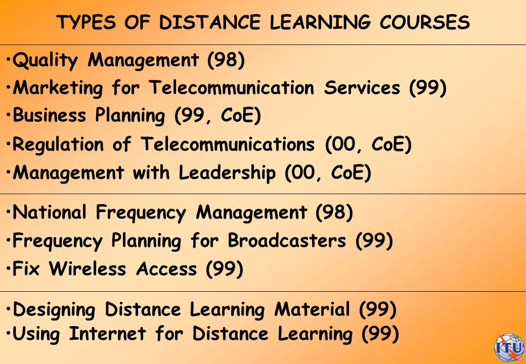 TYPES OF DISTANCE LEARNING COURSES