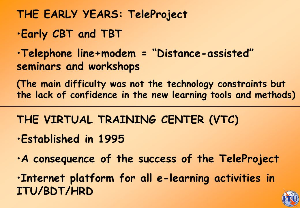 THE EARLY YEARS: TeleProject Early CBT and TBT
