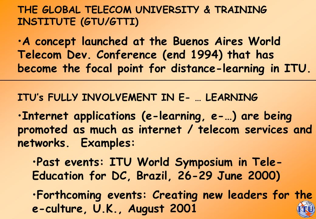THE GLOBAL TELECOM UNIVERSITY & TRAINING INSTITUTE (GTU/GTTI)