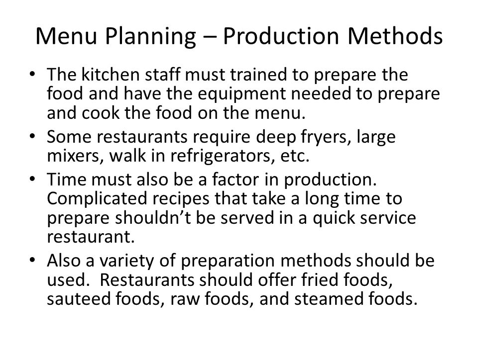 Menu Planning – Production Methods