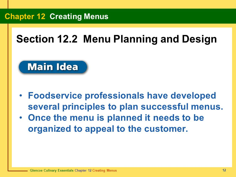 Section 12.2 Menu Planning and Design