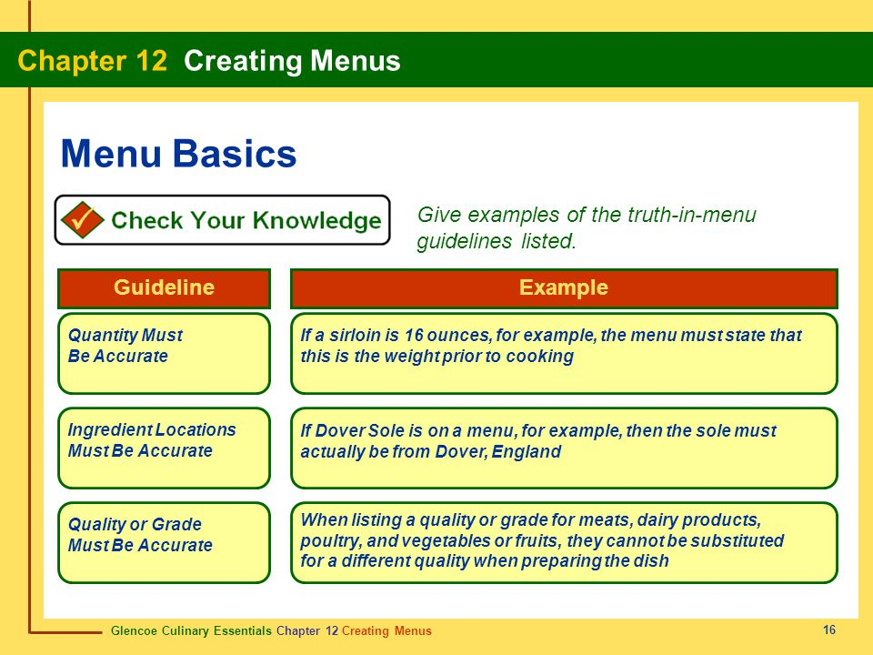 Menu Basics Give examples of the truth-in-menu guidelines listed.