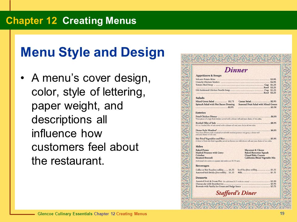 Menu Style and Design