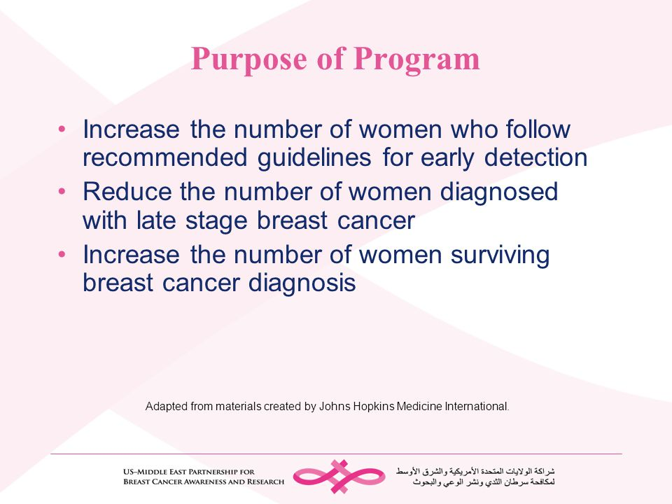Purpose of Program Increase the number of women who follow recommended guidelines for early detection.