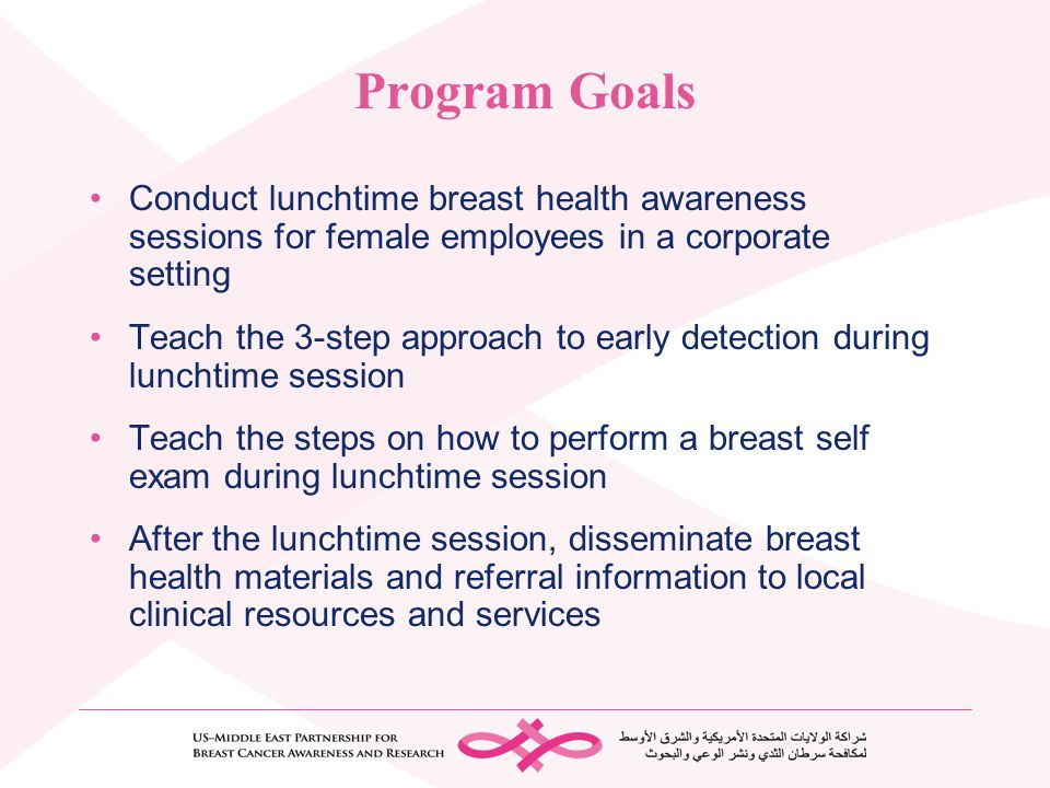 Program Goals Conduct lunchtime breast health awareness sessions for female employees in a corporate setting.