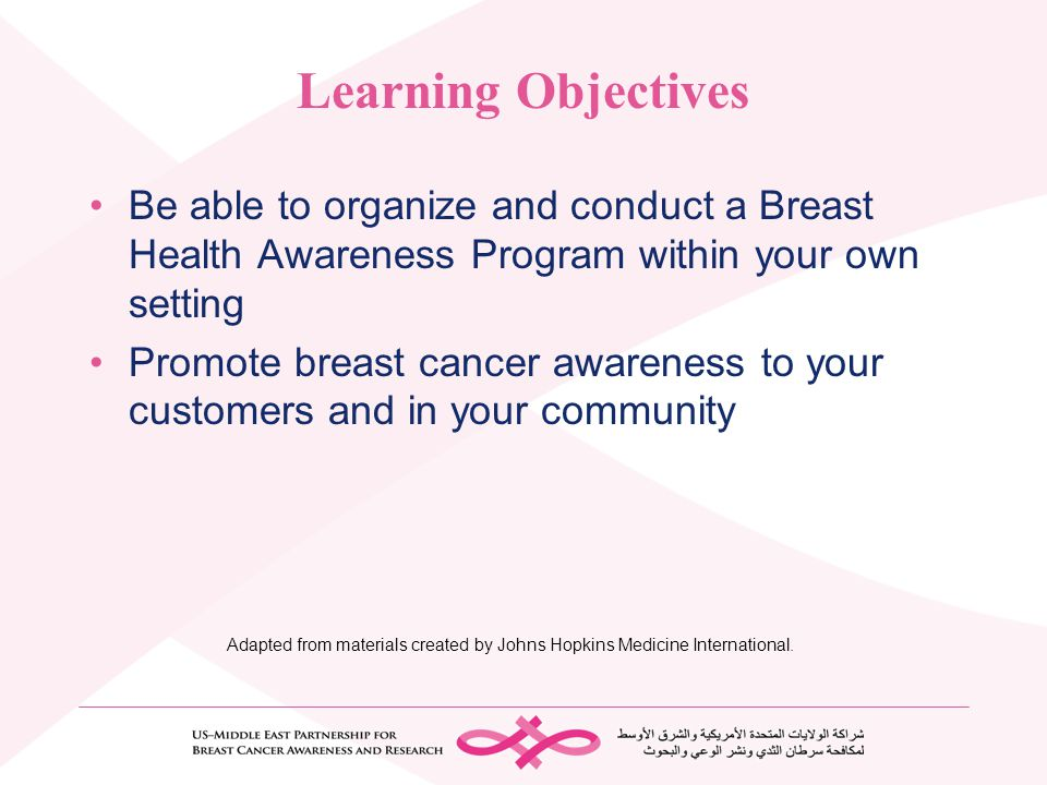 Learning Objectives Be able to organize and conduct a Breast Health Awareness Program within your own setting.
