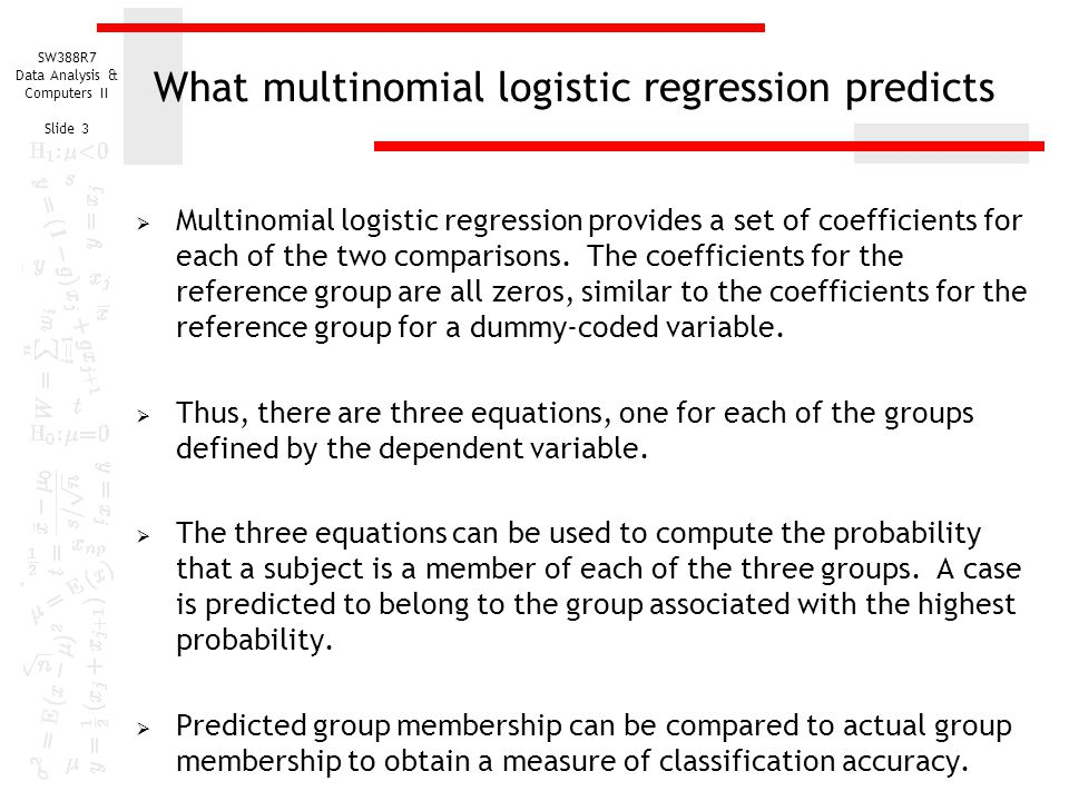 Multinomial Logistic Regression Basic Relationships - ppt