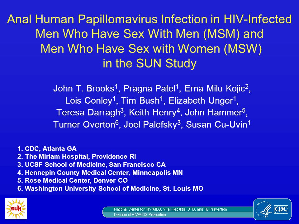 Anal Human Papillomavirus Infection in HIV-Infected Men Who