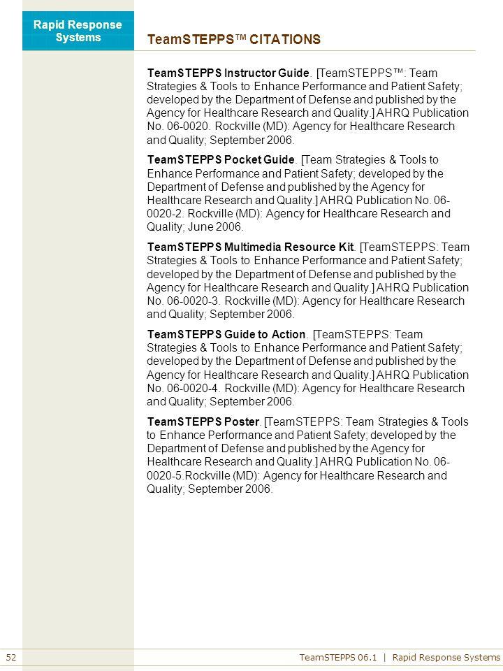 teamstepps pocket guide citation