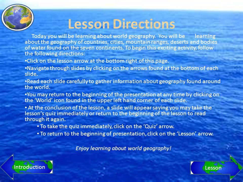 world geography lesson 6 assignment 6 Ac k n o w l e d g e m e n t s manitoba education and advanced learning gratefully acknowledges the contributions of the following individuals in the development of grade 12 world geography: a human perspective (40s): a course for independent study, field validation version.
