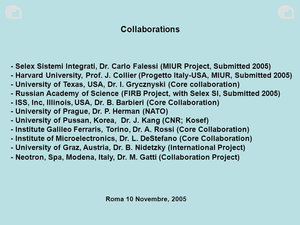 Collaborations - Selex Sistemi Integrati, Dr. Carlo Falessi (MIUR Project, Submitted 2005)