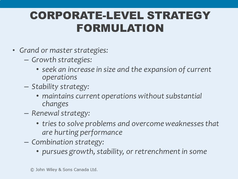 stability strategy in corporate level strategy