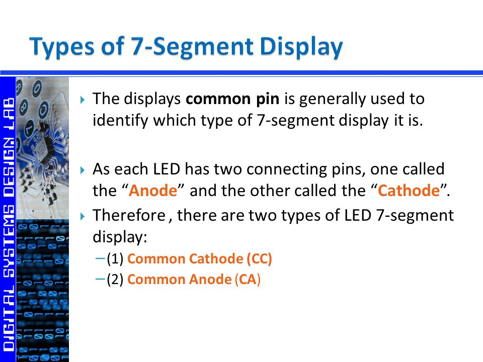 Digital Outputs 7-Segment Display - ppt video online download