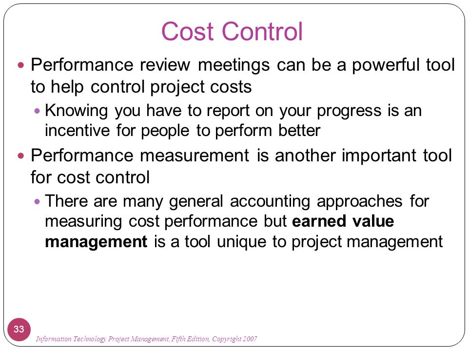 cost control project management pdf