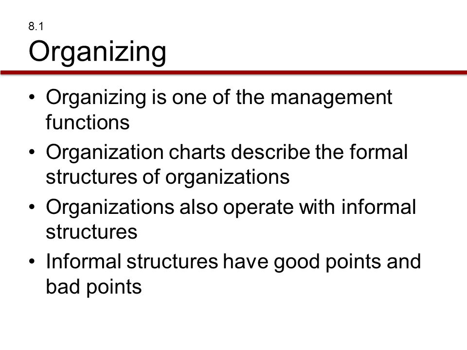 Organizing is one of the management functions